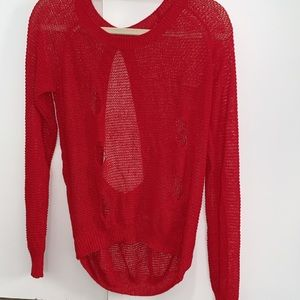 Sweaters - Red ripped sweater